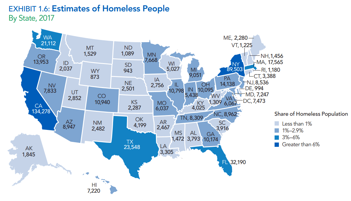 Estimates of homeless people in USA